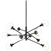 Orb 10 Light 39 inch Satin Black Pendant Ceiling Light