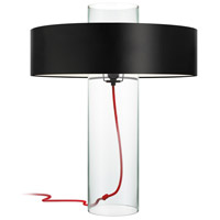Level 24 inch 60 watt Clear Glass Table Lamp Portable Light in Black Opaque Paper