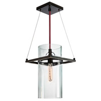 Square Ring 1 Light 9 inch Satin Black Pendant Ceiling Light