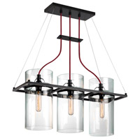 Square Ring 3 Light 26 inch Satin Black Pendant Ceiling Light