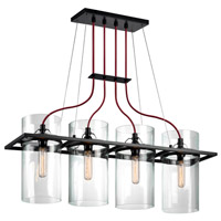 Sonneman Square Ring 4 Light Pendant in Satin Black 4764.25
