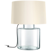 Grasso 27 inch 150 watt Clear Glass Table Lamp Portable Light in Black