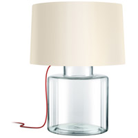 Grasso 27 inch 150 watt Clear Glass Table Lamp Portable Light in Red