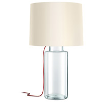 Vaso 32 inch 150 watt Clear Glass Table Lamp Portable Light in Red