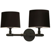 Soho 2 Light 20 inch Satin Black Sconce Wall Light in Black Linen
