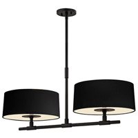 Soho 4 Light 34 inch Satin Black Bar Pendant Ceiling Light in Black Linen