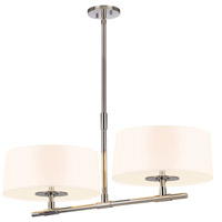 Soho 4 Light 34 inch Polished Nickel Bar Pendant Ceiling Light in White Linen
