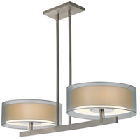 Puri 4 Light 36 inch Satin Nickel Pendant Ceiling Light in Silver Organza