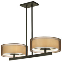 Puri 4 Light 36 inch Black Brass Pendant Ceiling Light in Bronze Organza