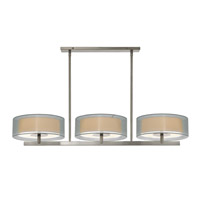 Puri 6 Light 48 inch Satin Nickel Pendant Ceiling Light in Silver Organza