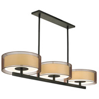Puri 6 Light 48 inch Black Brass Pendant Ceiling Light in Bronze Organza
