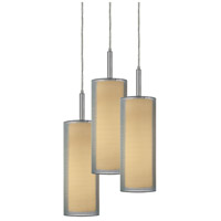 Puri 3 Light 16 inch Satin Nickel Pendant Ceiling Light in Silver Organza