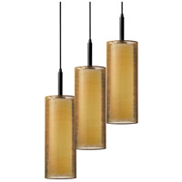 Puri 3 Light 16 inch Black Brass Pendant Ceiling Light in Bronze Organza
