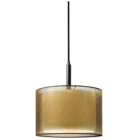 Puri 1 Light 10 inch Black Brass Pendant Ceiling Light in Bronze Organza