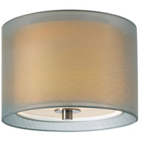 Puri 1 Light 10 inch Satin Nickel Pendant Ceiling Light in Silver Organza