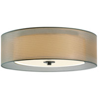 Puri 3 Light 16 inch Satin Nickel Surface Mount Ceiling Light in Silver Organza, GU24