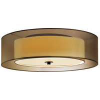 Puri 3 Light 22 inch Black Brass Surface Mount Ceiling Light in Bronze Organza, Medium