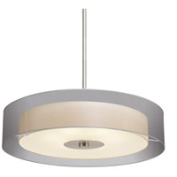 Puri 6 Light 30 inch Satin Nickel Pendant Ceiling Light in Silver Organza