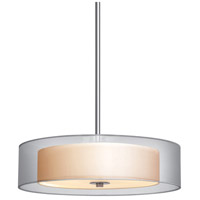 Puri 3 Light 22 inch Satin Nickel Pendant Ceiling Light in Silver Organza
