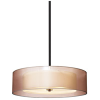 Puri 3 Light 22 inch Black Brass Pendant Ceiling Light in Bronze Organza