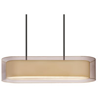 Puri 4 Light 12 inch Black Brass Pendant Ceiling Light in Bronze Organza
