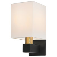 Sonneman Cubo 1 Light Sconce in Natural Brass and Black 6120.43