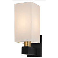 Sonneman Cubo 1 Light Sconce in Natural Brass and Black 6122.43