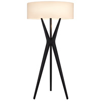 Bel Air 61 inch 100 watt Satin Black Floor Lamp Portable Light