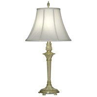 Signature 33 inch 150 watt Satin Brass and White Antique Table Lamp Portable Light