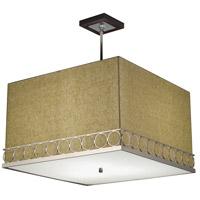 Stonegate SATRP02MB-PN-301-WN Astoria 3 Light 24 inch Polished Nickel Pendant Ceiling Light in Walnut Beige Linen