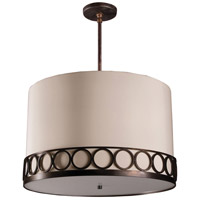 Stonegate SATRP06MB-RB-206 Astoria 3 Light 32 inch Hand Rubbed Bronze Pendant Ceiling Light in Medium Base Ivory Silk Dupioni