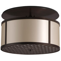 Brentwood LED 20 inch Hand Rubbed Bronze Semi-Flush Mount Ceiling Light in LED 120V, Ivory Silk Dupioni