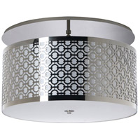 Brentwood LED 20 inch Polished Chrome Semi-Flush Mount Ceiling Light in LED 120-277V, White Silk Dupioni