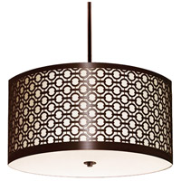Stonegate SBREP06MB-RB-209 Brentwood 3 Light 30 inch Hand Rubbed Bronze Pendant Ceiling Light in Medium Base White Silk Dupioni