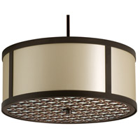 Stonegate SBREP10MB-RB-206 Brentwood 3 Light 30 inch Hand Rubbed Bronze Pendant Ceiling Light in Medium Base Ivory Silk Dupioni