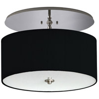 Classique LED 20 inch Brushed Nickel Semi-Flush Mount Ceiling Light in LED 120V, Black Linen