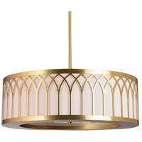 Stonegate SLASP03L1-BB-206-MI Laser Cut LED 30 inch Brushed Brass Pendant Ceiling Light in LED 120V Minnesota Ivory Silk Dupioni