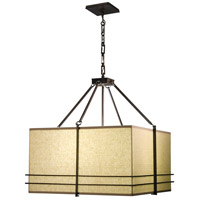 Stonegate SMESP01MB-RB-101 Mesa 3 Light 25 inch Hand Rubbed Bronze Pendant Ceiling Light in Natural Raw Silk