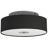 Nova 3 Light 24 inch Polished Nickel Semi-Flush Mount Ceiling Light in Medium Base, Horizontal Black Corduroy