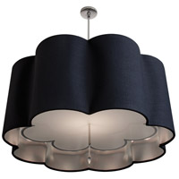 Stonegate SPRSP02MB-PN-304-SL Paris Petal 3 Light 32 inch Polished Nickel Pendant Ceiling Light in Medium Base Black Linen-Silver Inner