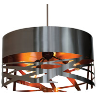Stonegate STEMP01MB-BS-TC Tempest 3 Light 24 inch Brushed Stainless Pendant Ceiling Light in Brushed Stainless Outer-Transparent Copper Inner