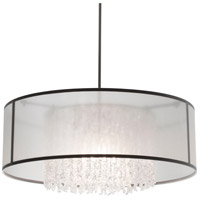 Stonegate SZURP02MB-PN-601 Zuri 3 Light 30 inch Polished Nickel Pendant Ceiling Light in White Sheer Organza