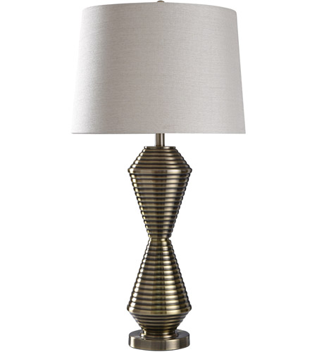 StyleCraft Home Collection JS317776DS Warwick 35 inch 150 watt Brushed Brass Table Lamp Portable Light photo thumbnail