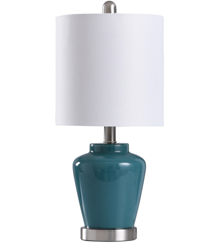 StyleCraft Home Collection L11083BDS Signature 19 inch 40 watt Teal and Brushed Steel Table Lamp Portable Light photo thumbnail