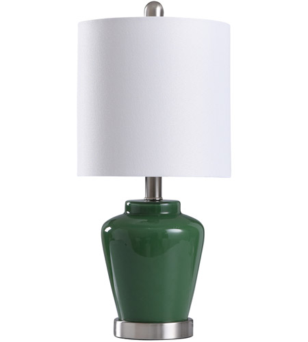 StyleCraft Home Collection L11083EDS Signature 19 inch 40 watt Green and Brushed Steel Table Lamp Portable Light photo thumbnail