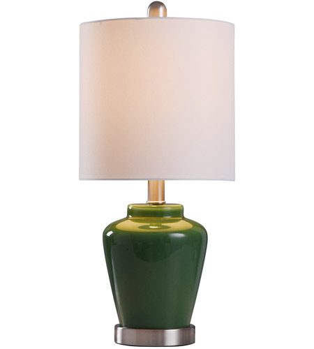 StyleCraft Home Collection L11083EDS Signature 19 inch 40 watt Green and Brushed Steel Table Lamp Portable Light alternative photo thumbnail