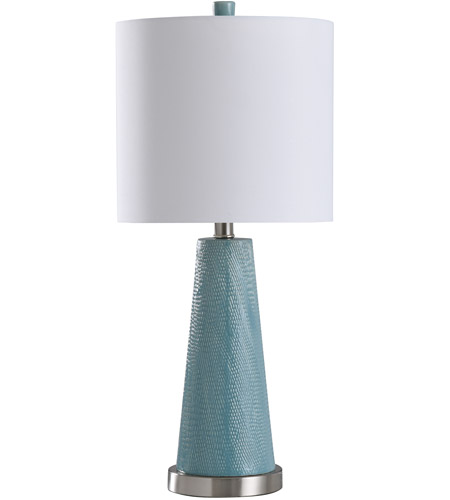 StyleCraft Home Collection L28533DS Signature 25 inch 100 watt Teal and Brushed Steel Table Lamp Portable Light photo thumbnail
