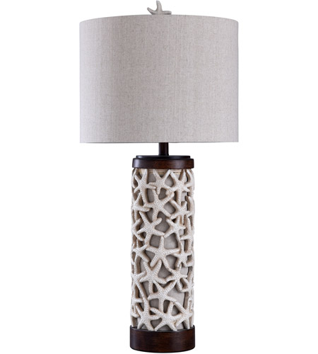 StyleCraft Home Collection L310608DS Signature 34 inch 100 watt Sand Shell and Bronze with White Table Lamp Portable Light photo thumbnail