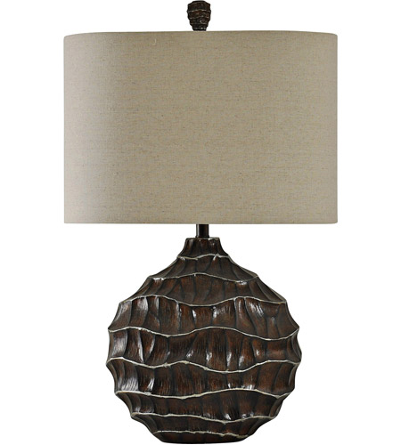 StyleCraft Home Collection L311514DS Signature 32 inch 100 watt Brown with Kashi Silver Table Lamp Portable Light photo thumbnail
