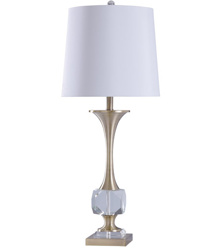 StyleCraft Home Collection L316896DS Signature 34 inch 150 watt Crystal and Polished Nickle with White Table Lamp Portable Light photo thumbnail